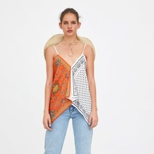 Zara Printed Handkerchief Top - NWT